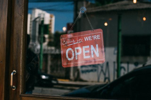 Graduate from the entrepreneurship program business open sign