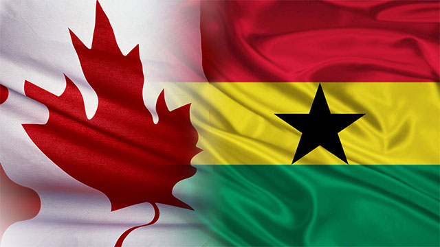 Canadian flag fading into a Ghana flag