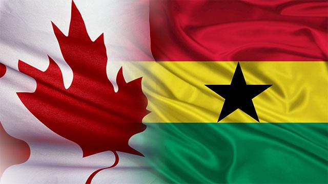 Canadian flag fading into a Ghana flag