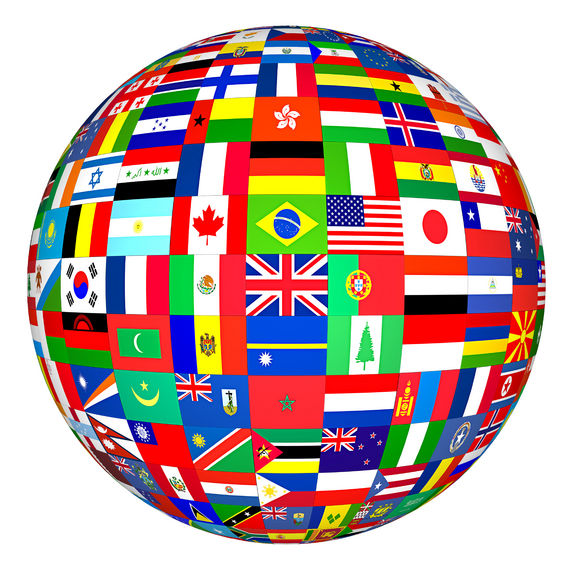 Flags from around the globe showing multiculturalism in international students